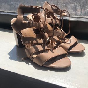 Coach leather sandals, lace up